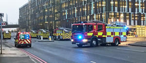 Fire appliances outside Nottingham railway station