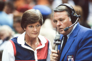 Keith Jackson, shown with former Tennessee woman's basketball coach Pat Summitt at the 1984 Summer Olympics, has died at age 89.