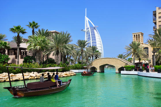 Slide 1 of 15: Madinat Jumeirah and the Burj al Arab Hotel in Dubai