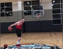 Man performs impressive basketball trick shots