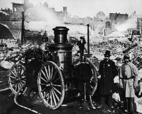 Slide 1 of 10: Firemen stand amidst the rubble after the Great Boston Fire of November 1872. (Photo by FPG/Hulton Archive/Getty Images) ** http://www.history.com/this-day-in-history/fire-rips-through-boston http://on-this-day.com/onthisday/thedays/alldays/nov09.htm https://en.wikipedia.org/wiki/Great_Boston_fire_of_1872