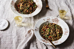 a plate of food on a table: A tale of love and lentils.