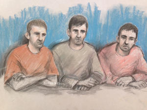 Court artist sketch dated 09/05/17 by Elizabeth Cook of (left to right) Scott Keeping, Jason Baccus and Kevin Downton in the dock at Winchester Crown Court.