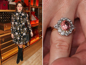 LONDON, ENGLAND - NOVEMBER 21: Princess Eugenie of York attends Louis Vuittons Celebration of GingerNutz in Vogue's December Issue on November 21, 2017 in London, England. (Photo by David M. Benett/Dave Benett/Getty Images for Louis Vuitton); Princess Eugenie wears a ring containing a padparadscha sapphire surrounded by diamonds as she poses with Jack Brooksbank in the Picture Gallery at Buckingham Palace in London after they announced their engagement.