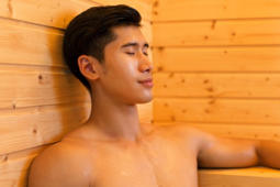 Man in sauna