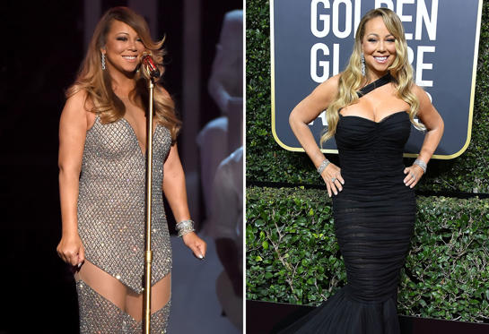 Slide 1 of 36: Singer/songwriter Mariah Carey performs onstage during the 2015 Billboard Music Awards at MGM Grand Garden Arena on May 17, 2015 in Las Vegas, Nevada.   Mariah Carey arrives at the 75th Annual Golden Globe Awards at The Beverly Hilton Hotel on January 7, 2018 in Beverly Hills, California.