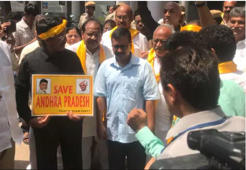 TDP lawmakers detained, Kejriwal visits them