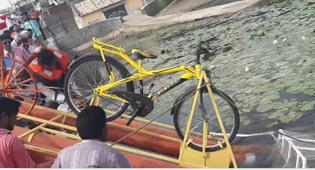 This floating bicycle will help clean Nagpur's Telangkhedi lake