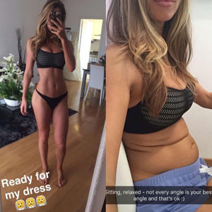 "ANNA VICTORIA: The Body Love app founder got real with her followers when she posted a split image of herself standing and flexing, accompanied with another pic of herself sitting down and showing an unflexed belly. The photos, she says, were taken only minutes apart. ""Picture on the left was taken one day before the wedding and the picture on the right was taken… 2 minutes after!"" she shared on Instagram. ""Someone recently said to me that we all have our good angles and we all have our bad angles, so why do we let our bad angles carry so much more weight than our good angles? If you focus on how bad you look in the bad angles, at least focus on how good you look in the good ones too!!"""