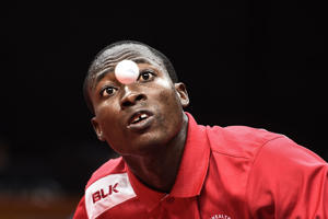 Bernard Sam of Ghana serves against Nigel Bryan of Guyana during their men's singles group 20 table tennis match at the 2018 Gold Coast Commonwealth Games at the Oxenford Studios venue in Gold Coast on April 10, 2018. / AFP PHOTO / YE AUNG THU        (Photo credit should read YE AUNG THU/AFP/Getty Images)