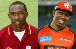 BRIDGETOWN - MAY 4: Portrait of Dwayne Bravo of the West Indies taken during a photocall held on May 4, 2004 at the Kensington Oval in Bridgetown, Barbados. (Photo by Clive Rose/Getty Images); MELBOURNE, AUSTRALIA - JANUARY 12: Dwayne Bravo of the Melbourne Renegades stands in as captain for the Big Bash League match between the Melbourne Renegades and the Melbourne Stars at Etihad Stadium on January 12, 2018 in Melbourne, Australia. (Photo by Darrian Traynor - CA/Cricket Australia/Getty Images)