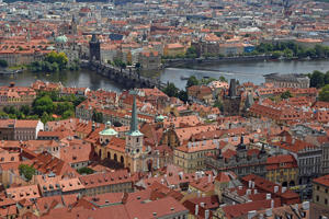 View from St. Vitus Cathedral to the Old Town with Vltava, Prague, Bohemia, Czech Republic - provided by Shutterstock