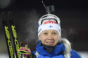 Sixth placed Finland's Kaisa Makarainen poses after the women 7,5 km sprint competition at the IBU World Cup Biathlon in Ostersund, Sweden, December 01, 2017. / AFP PHOTO / TT News Agency / Pontus LUNDAHL / Sweden OUT        (Photo credit should read PONTUS LUNDAHL/AFP/Getty Images)