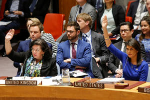 U.S. Ambassador to the U.N. Haley and Pierce, UK Ambassador to the U.N. vote against a Russian resolution condemning 'aggression' against Syria by the U.S. and its allies during an emergency U.N. Security Council meeting at U.N. headquarters in New York