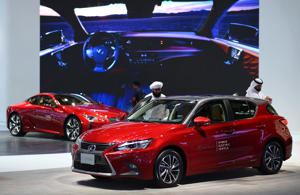 Lexus CT Hybrid is seen during Dubai Motor Show at Dubai World Trade Centre on November 15, 2017