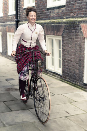 Undated handout photo issued by Goldsmiths, University of London of a model wearing a Victorian designed cycling skirt, originally made by Alice Bygrave, a dressmaker from Brixton, south London and recreated by Dr Kat Jungnickel a senior lecturer at Goldsmiths as research for her new book Bikes and Bloomer