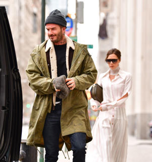 David Beckham and Victoria Beckham seen on the streets of Manhattan on March 4, 2018 in New York City.