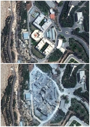 Combination of satellite images shows the Barzah Research and Development Center in Syria on Friday, April 13, 2018, top, and on Sunday, April 15, bottom, following a U.S.-led allied missile attack.