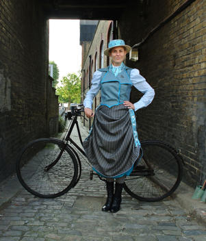 Undated handout photo issued by Goldsmiths, University of London of a model wearing a Victorian designed cycling skirt, known as the Hyde Park Safety Skirt which gathered fabric at intervals by a series of side buttons, recreated by Dr Kat Jungnickel a senior lecturer at Goldsmiths as research for her new book Bikes and Bloomers.