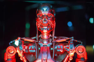 Original  robot used in filming 'Terminator Salvation' is seen at Robots, a major new exhibition at Science Museum in London