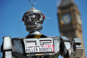 A mock 'killer robot' is pictured in central London on April 23, 2013 during the launching of the Campaign to Stop 'Killer Robots'