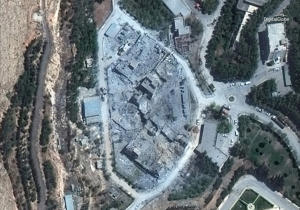 This satellite image shows the Barzah Research and Development Center in Syria following a U.S.-led allied missile attack