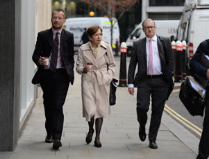 Jonathan Munro head of BBC Newsgathering, Franscesca Unsworth, BBC Director, News and Current Affairs and Gary Smith, former BBC Home Editor and current Head of News at BBC Scotland, arrive at the Rolls Building in London for the continuing legal action with Sir Cliff Richard over the BBC coverage of a police raid at his apartment in Berkshire in August 2014.