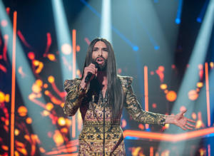 Conchita Wurst performs on stage for Operacion Triunfo Eurovision contest on January 29, 2018 in Barcelona, Spain.