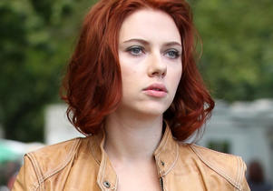 Scarlett Johansson on the set of 'The Avengers' on September 02, 2011 in New York City, New York.
