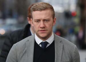 Ireland and Ulster rugby player Stuart Olding arrives at Belfast Crown Court where he and his teammate Paddy Jackson are on trial accused of raping a woman at a property in south Belfast in June 2016.