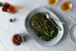 a bowl of food on a table: XO Sauce with Broccoli Rabe