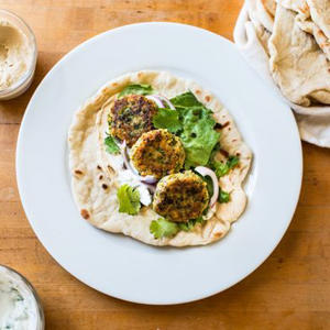 a plate of food on a table: No-Gadget Falafel