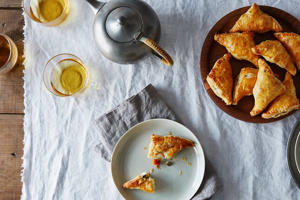 a plate of food on a table: Flaky Baked Samosas