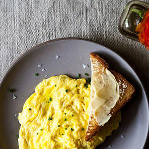 a plate of food: Daniel Patterson's Poached Scrambled Eggs