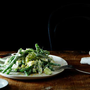 a plate of food on a table: Chopped Kitchen Sink Salad with Yogurt Dressing & Bottarga
