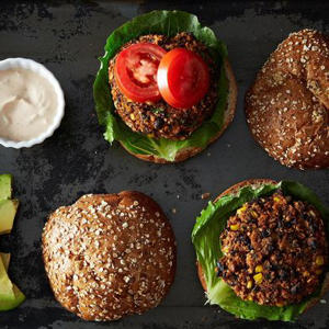 a close up of food: Black Bean and Quinoa Veggie Burgers