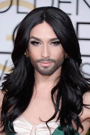 Conchita Wurst arrives to the 72nd Annual Golden Globe Awards held at the Beverly Hilton Hotel on January 11, 2015.