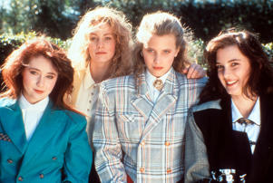 From left to right, Shannen Doherty, Lisanne Falk, Kim Walker and Winona Ryder on set of the film 'Heathers', 1988.