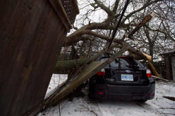 car damaged by a fallen tree branch is shown in Toronto, Monday, April 16, 2018. Tens of thousands of people across southern and central Ontario remained without power Monday morning as the province's massive ice storm transitioned to drenching rain.