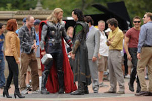 File: Actors Scarlett Johansson, director Joss Whedon, Chris Hemsworth, Tom Hiddleston, Mark Ruffalo, Jeremy Renner, and Chris Evans rehearse a scene at 'The Avengers' movie set in Central Park on September 2, 2011 in New York City. (