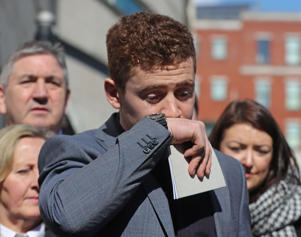 Ireland and Ulster rugby player Paddy Jackson speaking outside Belfast Crown Court after he was found not guilty of raping a woman at a property in south Belfast in June 2016.