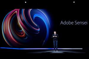 Adobe CTO Abhay Parasnis talks about Adobe Sensei during Adobe Summit at the Venetian on March 27, 2018, in Las Vegas.