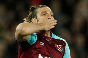 "Soccer Football - Premier League - West Ham United vs Stoke City - London Stadium, London, Britain - April 16, 2018   West Ham United's Andy Carroll celebrates scoring their first goal          Action Images via Reuters/John Sibley    EDITORIAL USE ONLY. No use with unauthorized audio, video, data, fixture lists, club/league logos or ""live"" services. Online in-match use limited to 75 images, no video emulation. No use in betting, games or single club/league/player publications.  Please contact your account representative for further details."