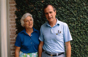 (Original Caption) GOP Presidential candidate George Bush poses with his wife Barbara, at home.