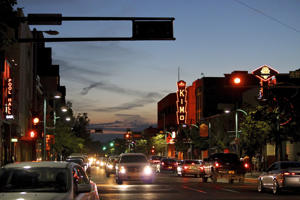 FILE - In this June 21, 2016, file photo, cars make their way along historic Route 66 in downtown Albuquerque, N.M.