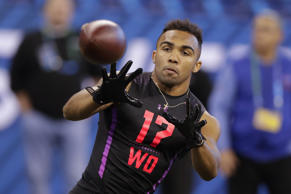 Texas A&M wide receiver Christian Kirk runs a drill at the NFL football scouting combine in Indianapolis, Saturday, March 3, 2018. (AP Photo/Michael Conroy)