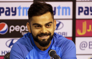 Indian cricket team captain Virat Kohli smiles during press conference in Chennai, India, Saturday, Sept. 16, 2017. India and Australia will play their first one-day international on Sept. 17.