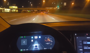 Tesla on autopilot almost hits guardrail