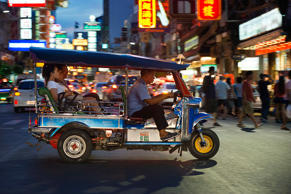 CAPTION: Tuk tuk in the street. View down Thanon Yaowarat road at night in central Chinatown district of Bangkok Thailand. Yaowarat and Phahurat is Bangkok's multicultural district, located west of Silom and southeast of Rattanakosin. (Photo by: Sergi Reboredo/VW PICS/UIG via Getty Images)