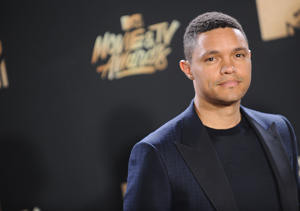 LOS ANGELES, CA - MAY 07:  Trevor Noah poses in the press room at the 2017 MTV Movie and TV Awards at The Shrine Auditorium on May 7, 2017 in Los Angeles, California.  (Photo by Jason LaVeris/FilmMagic)